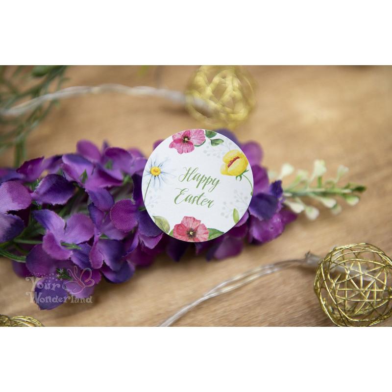 Naklejki HAPPY EASTER z motywem kwiatowym  - 1